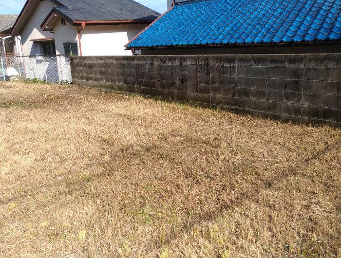 箕面で空き地の草刈り、除草剤散布(南側作業後)
